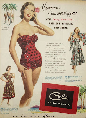 vintage fashion swimwear ad, 1950s