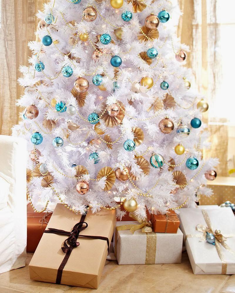 Rbol de navidad blanco negro verde o de m s colores - Arbol navideno blanco decorado ...