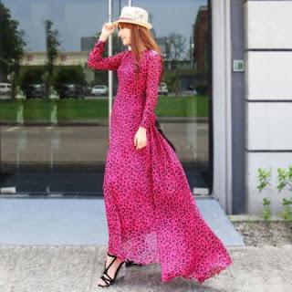 Model Baju Long Dress Korea Motif Leopard