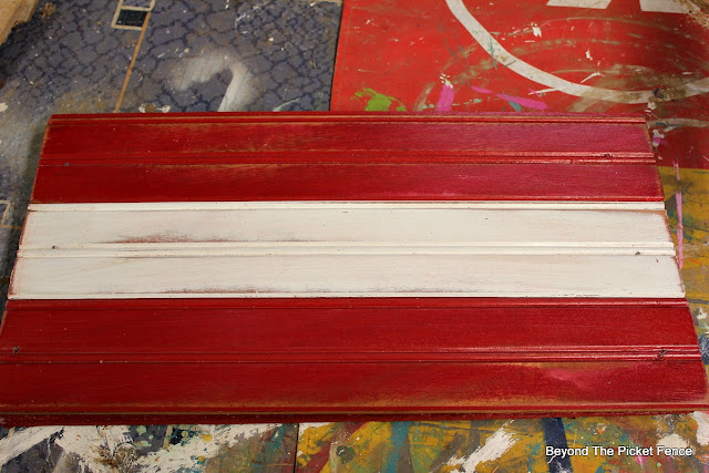 christmas ideas, DIY, candy cane holder, beadboard, paint, plumbers tape, christmas sign, http://bec4-beyondthepicketfence.blogspot.com/2015/11/12-days-of-christmas-day-7-candy-cane.html