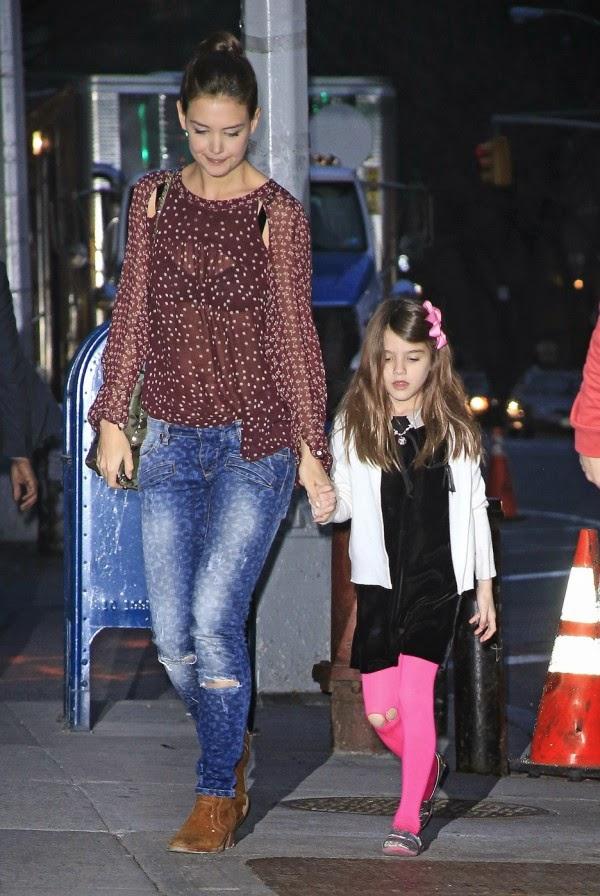 Katie Holmes Pierre Balmain Distressed Leopard Skinny Jeans