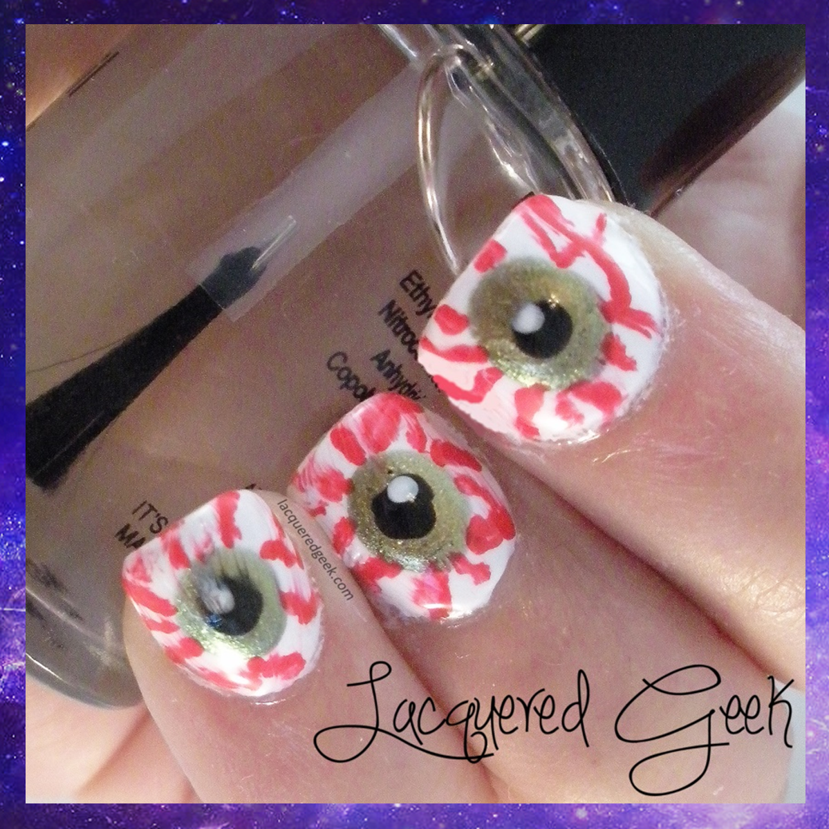 Halloween nail art bloodshot eyes
