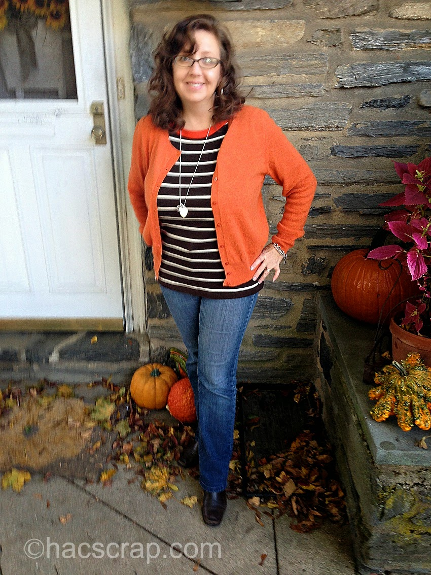 MidLife Mom Style - Orange Cardi with t-shirt, jeans and boots.