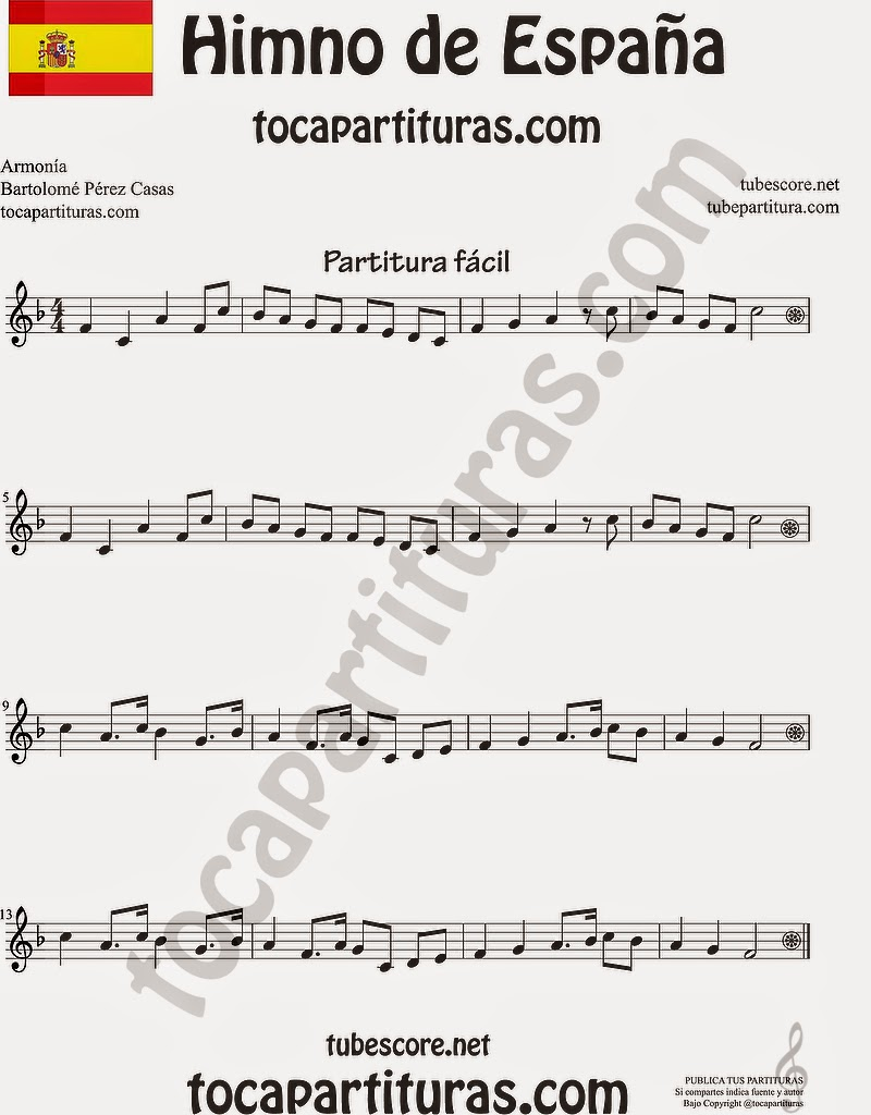 PARTITURA FÁCIL DEL HIMNO DE ESPAÑA (EN FA MAYOR) PARA TODO LOS INSTRUMENTOS EN CLAVE DE SOL Easy Sheet National Anthem of Spain