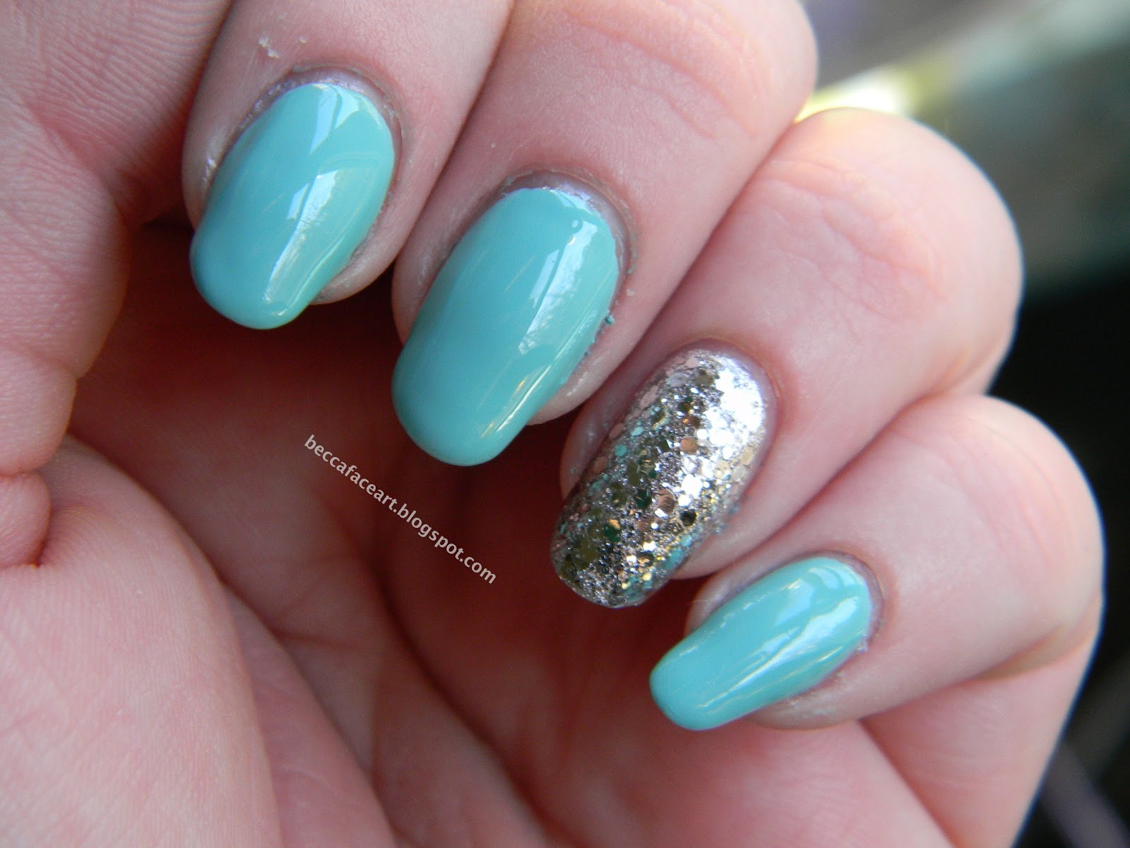 Becca Face Nail Art Turquoise And Silver Glitter Nails