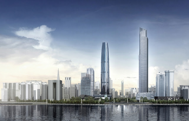 Rendering of the The Chow Tai Fook tower as seen from the river