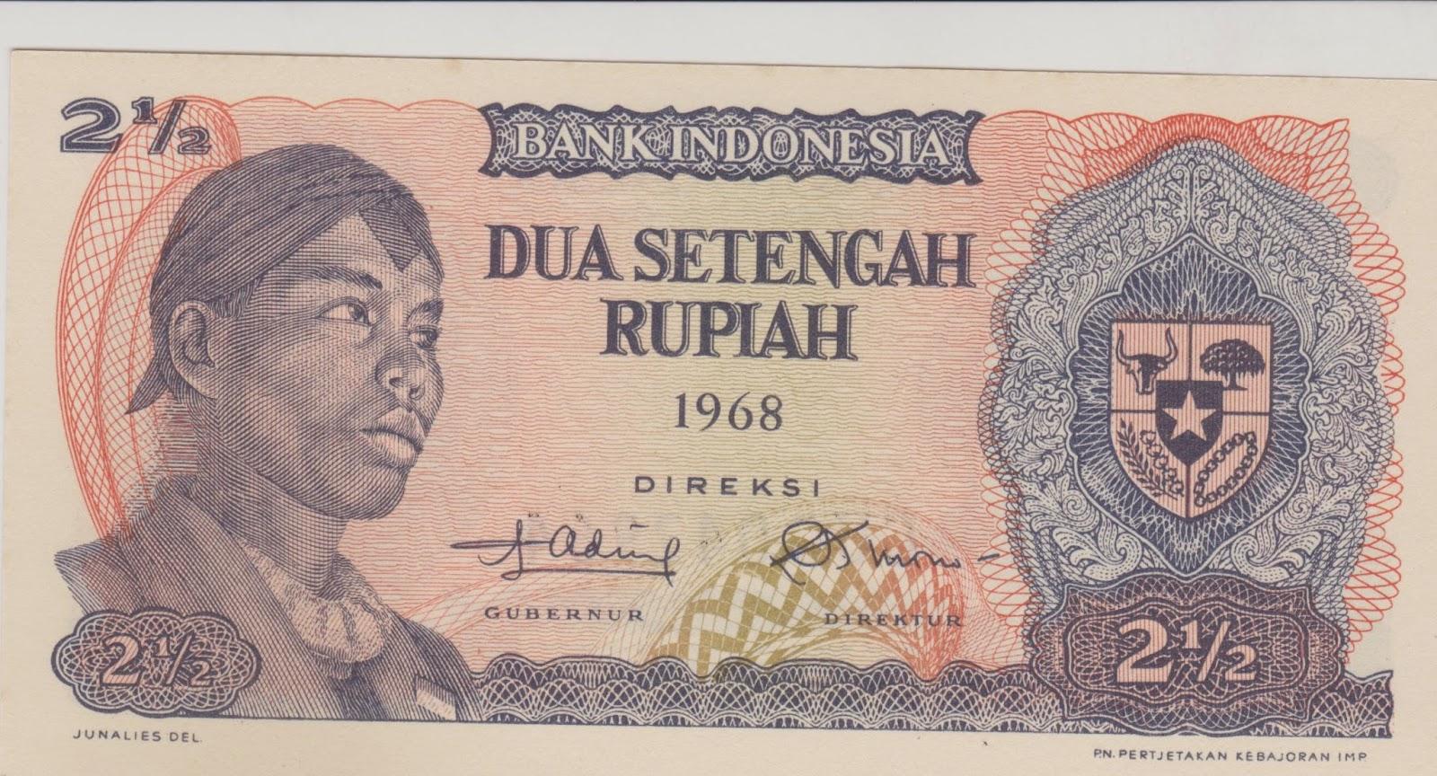 uang kuno Seri Soedirman tahun 1968 Pecahan 2 setengah rupiah