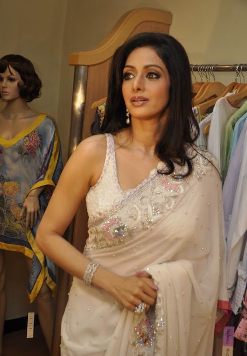 Sridevi in White Saree, Film Actress Sridevi Promoting CreditCards
