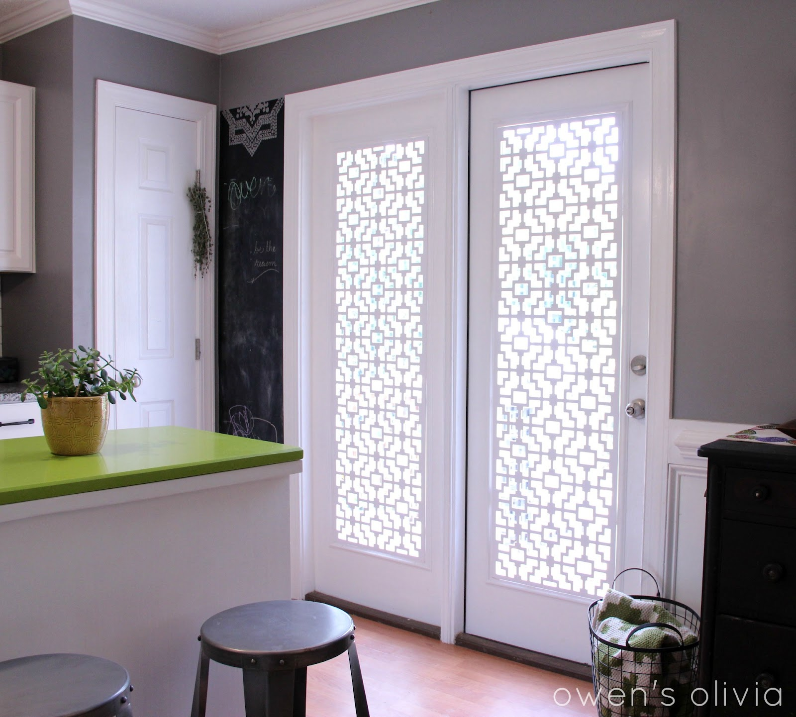 Owen 39 s olivia custom window treatments using pvc for Custom patio doors