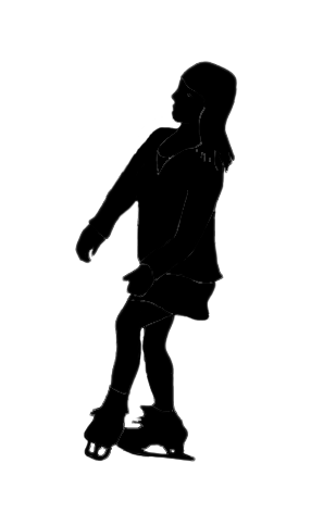 silhouette of young Asian woman ice skating
