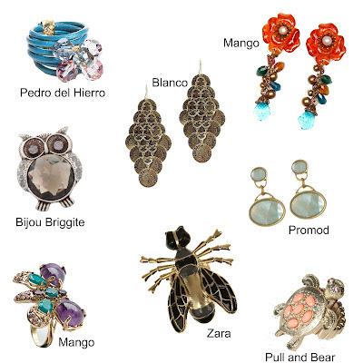 Pendientes broches anillos