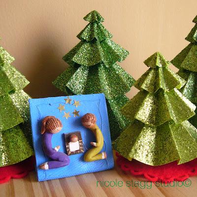 nativity, christmas, trees, paper, glitter