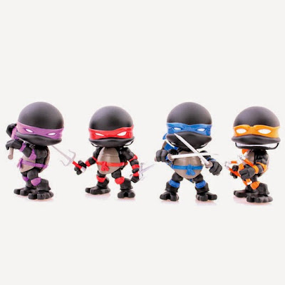San Diego Comic-Con 2015 Exclusive Stealth Edition Teenage Mutant Ninja Turtles Mini Figure Set by The Loyal Subjects - Donatello, Raphael, Leonardo & Michelangelo