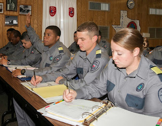 Cadets spend hours in the Academy classroom receiving core curriculum instruction.