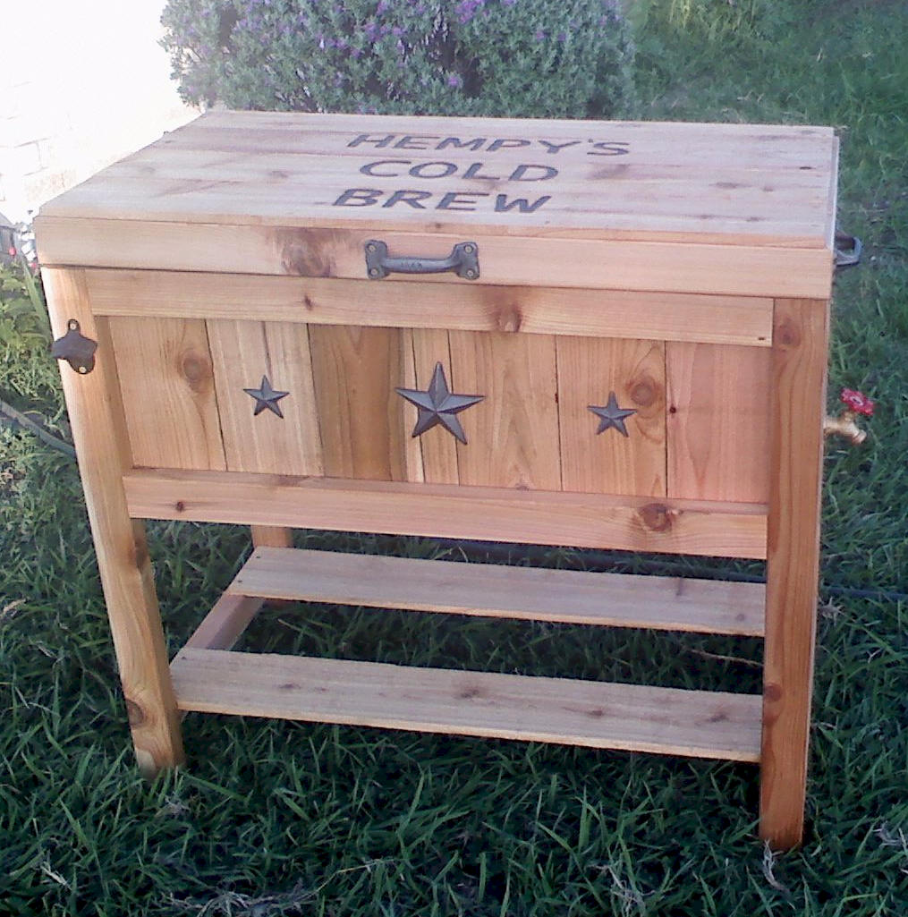 Wooden Ice Chest ~ Larry the glider guy custom built wooden ice chest
