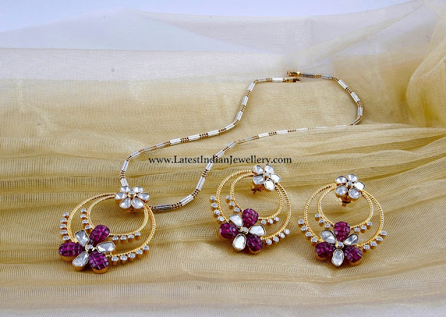 Gold Ruby Pendant Set