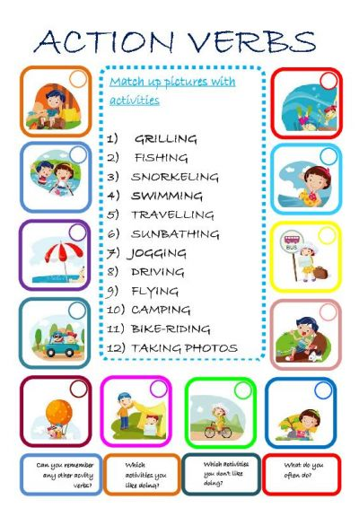 Action Verb Word List Worksheet also with verbs coloring worksheet