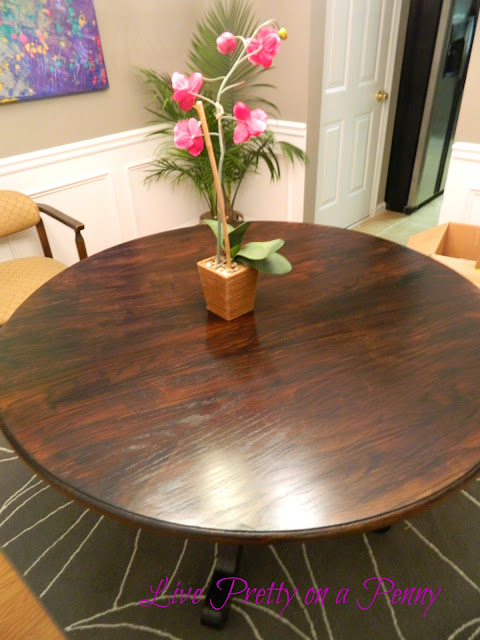 refinishing an oak table a dining room update live pretty on a penny. Black Bedroom Furniture Sets. Home Design Ideas