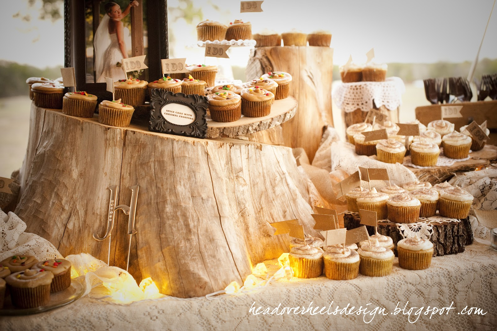 Loaf Over Heels Rustic Woodsy Cupcake Table Display How To