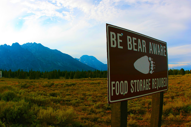 A sign in the Tetons warning visitors to 'Be Bear Aware'.