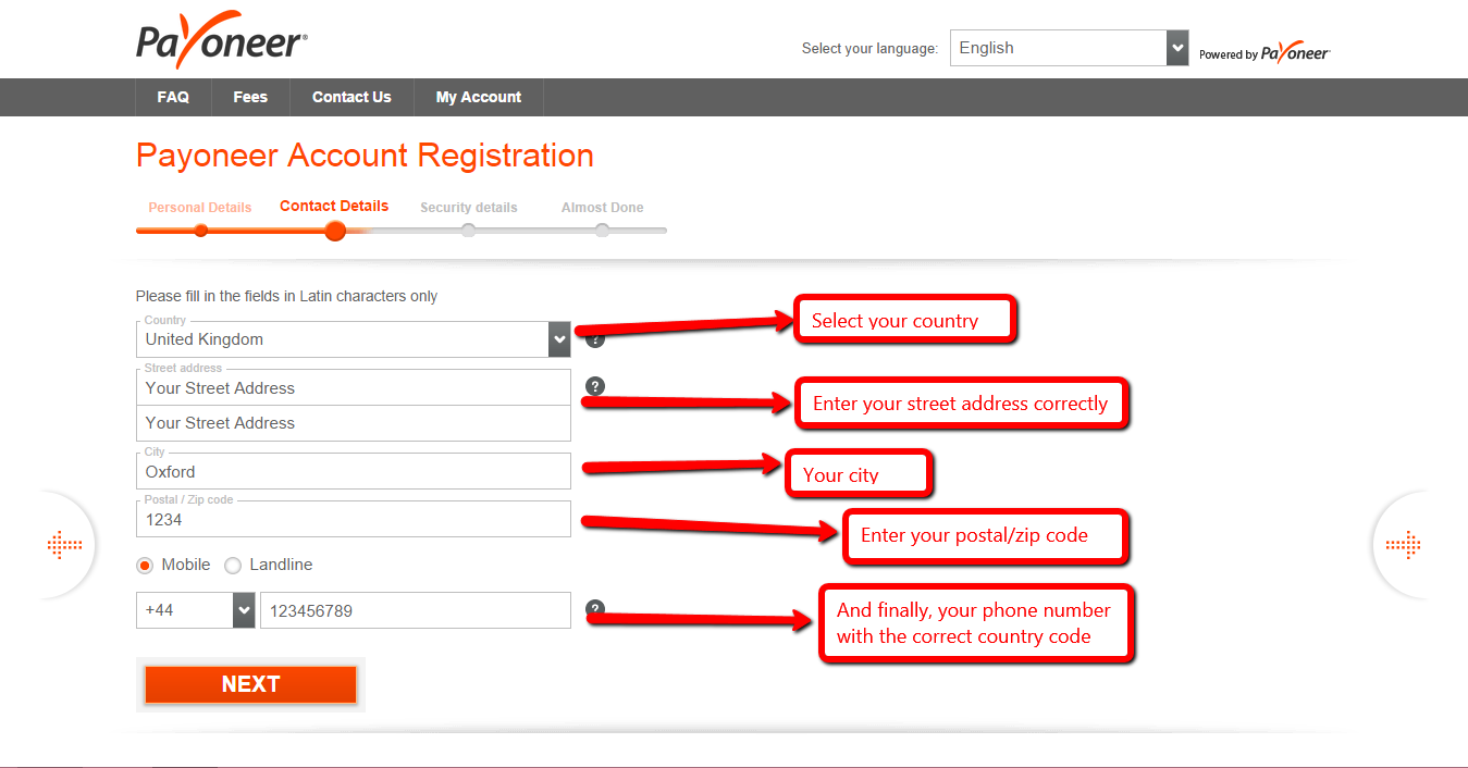 Payoneer sign up details.
