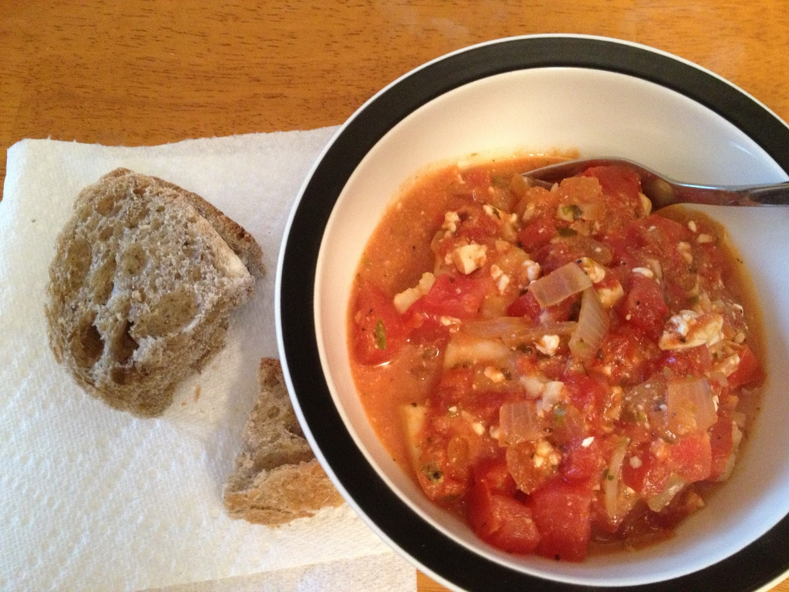 ... Out and Eating In: Recipe - Cod Baked in a Tomato and Feta Sauce