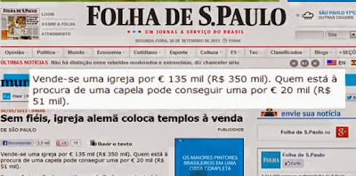 Notícia da Folha de São Paulo sobre êxodo religioso na Alemanha e venda de templos por falta de fiéis