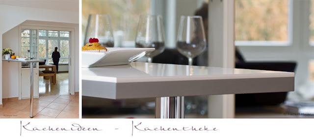 Arbeitsplatte wie Glas - Hochglanz Brillant - Dekor mit 3-D-Stufenkante für eine edle weisse Loft - Küche
