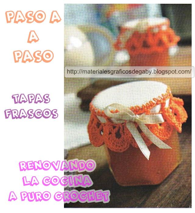 Materiales gráficos Gaby: Tapas de frascos tejidas