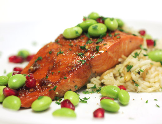 lisa is cooking: Pomegranate-Glazed Salmon with Armenian Rice