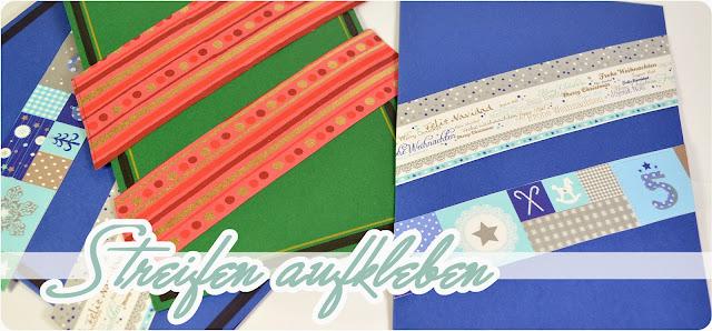 DIY Grußkarten für Weihnachten - Streifen aufkleben