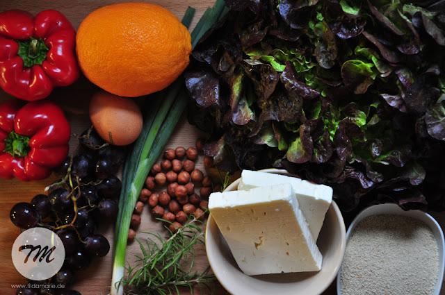 Zutaten für panierten Schaftskäse und Salat