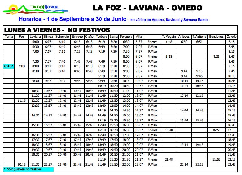 Autobuses de asturias horarios y servicios de la l nea for Hora de escape oviedo