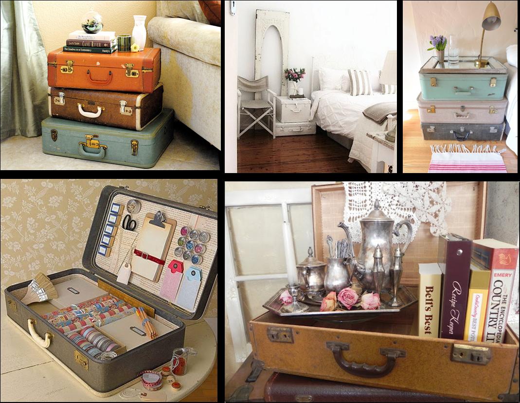 Momentips ideas para decorar con maletas antiguas for Decorar casa antigua