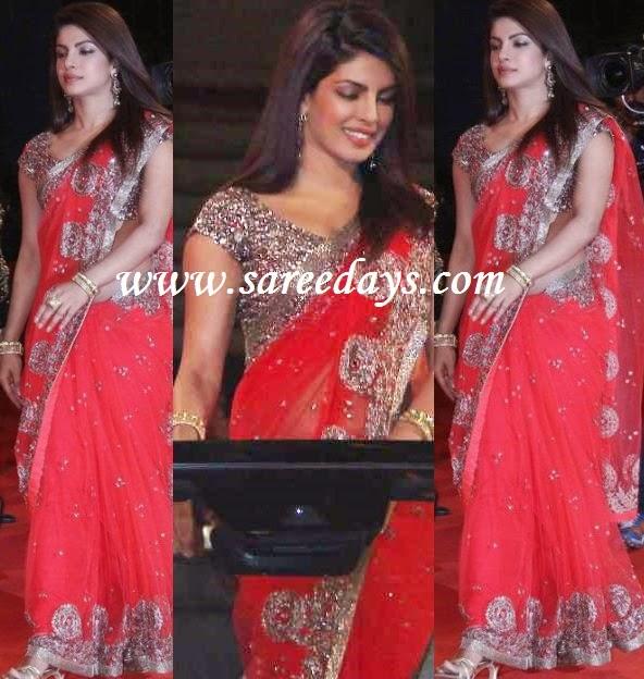 Latest saree designs priyanka chopra in red manish malhotra priyanka chopra in red manish malhotra designer saree altavistaventures Image collections