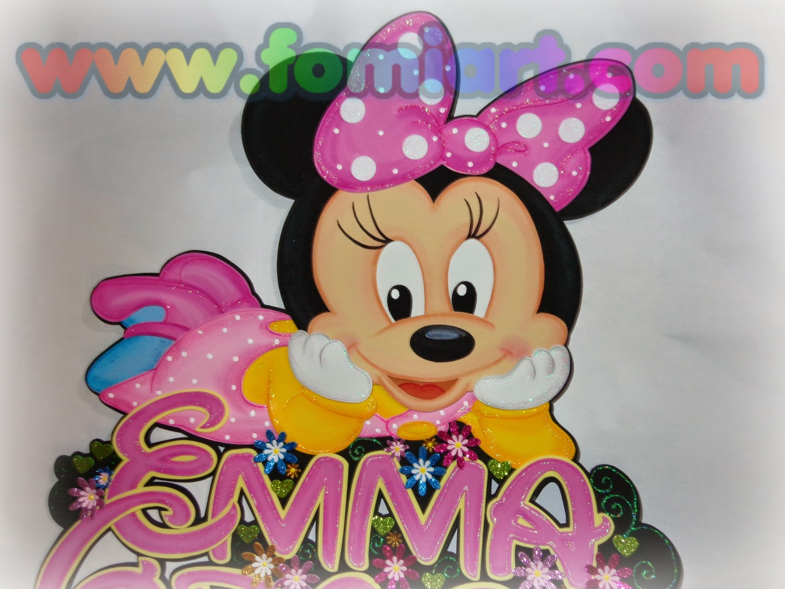 Baby Minnie Mouse, decoracion en foami, fomi, goma eva