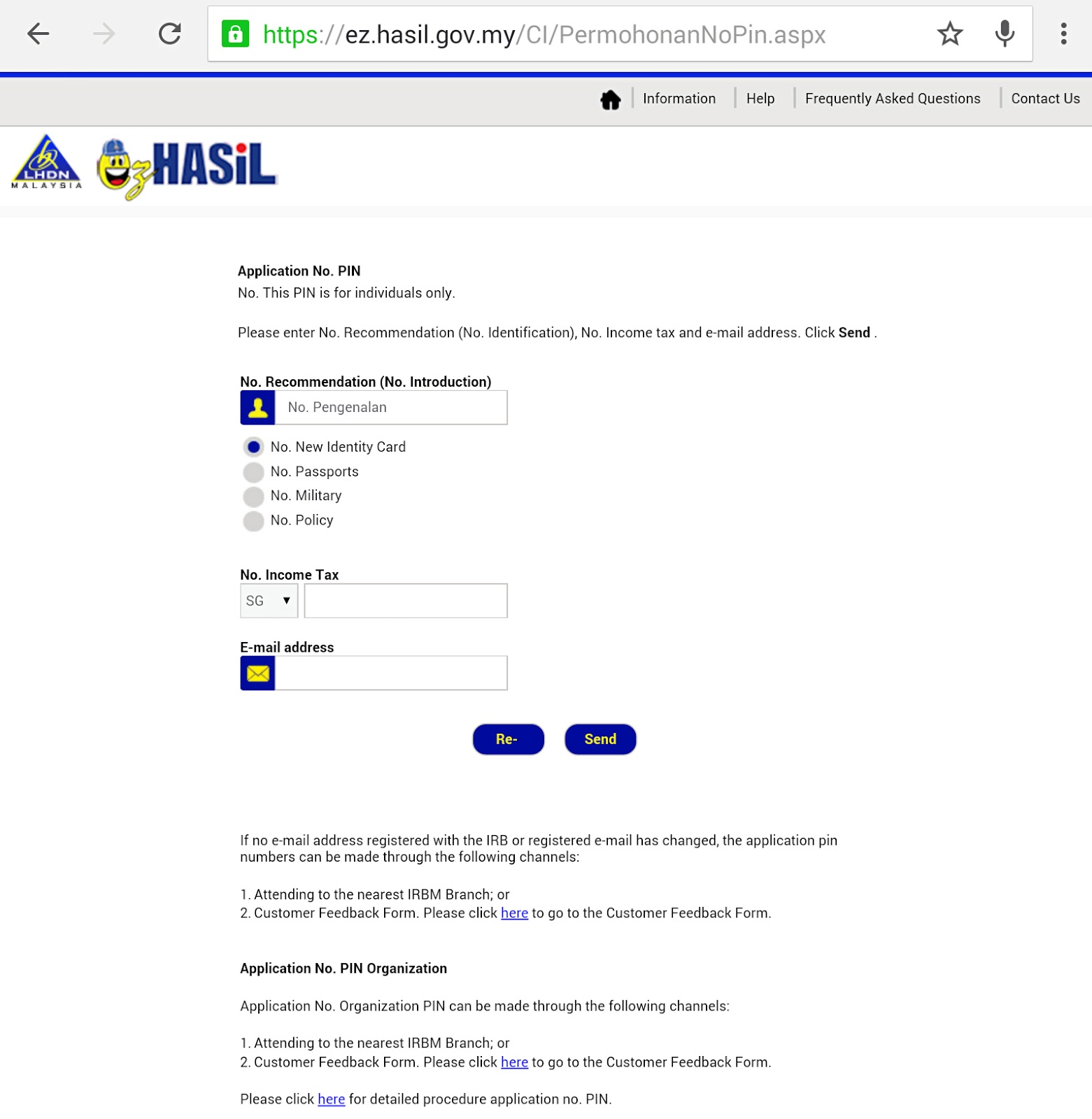 How to do e filing for income tax return in malaysia just an to request for an e filling pin number go to ezhasil once you are on the ezhasil page click on permohonan no pin application no pin falaconquin