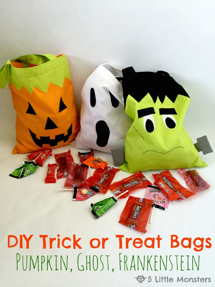 5 monsters diy trick or treat bags pumpkin ghost