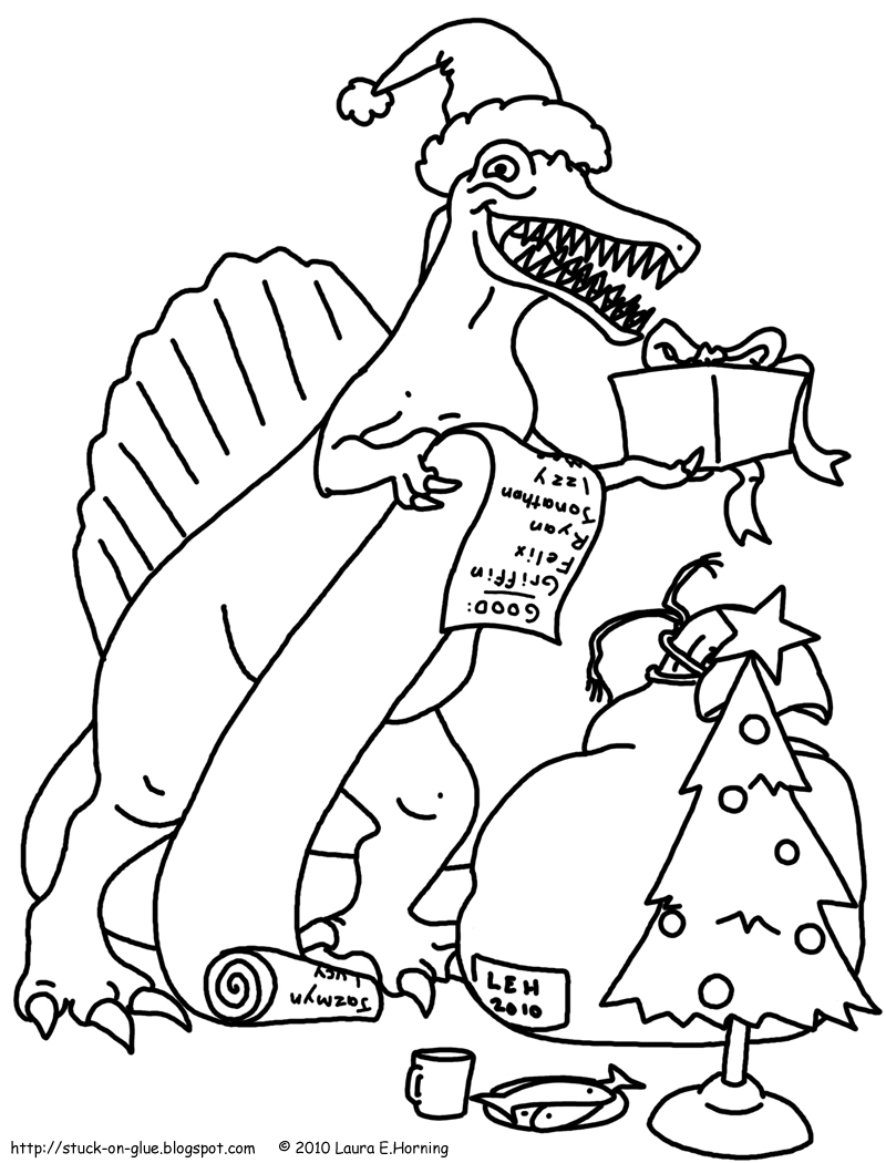 coloring pages dinosaur christmas