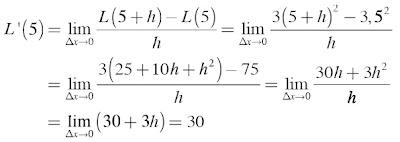 Laju perubahan luas terhadap lebar l untuk l = 5