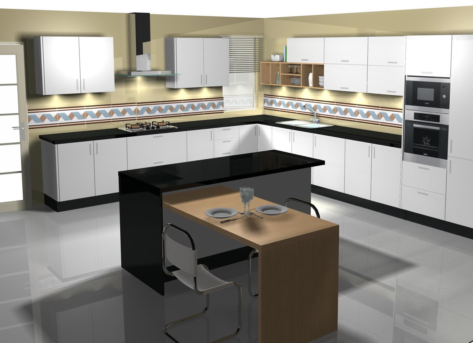 Dise o de cocina con isla y mesa - Mesa extraible cocina ...