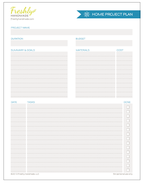 Freshly handmade summer spruce up planning free for Home project planner