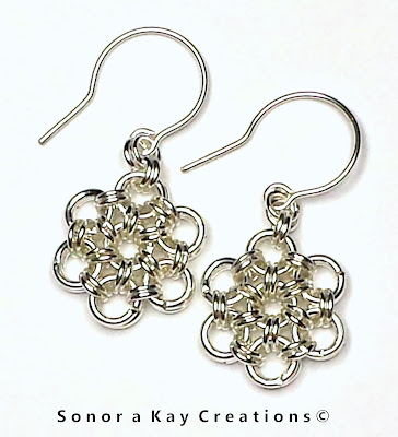 Japanese 12 in 2 Chainmaille Earrings in Silver Plated Brass