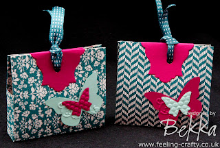Adorable Treat Purses made by Bekka from Stampin' Up!'s Comfort Cafe Designer Series Papers - all supplies available from www.feeling-crafty.co.uk