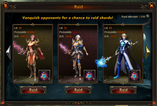 League of Angels Raid system