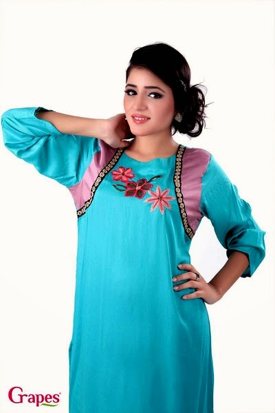 Grapes - Cotton Silk Embroidered Kurta For Mid-Summer-14