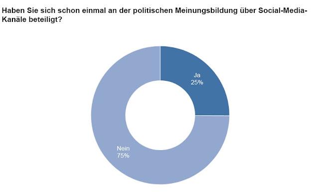 25% der Befragten haben sich bisher via Social Media an Politik beteiligt