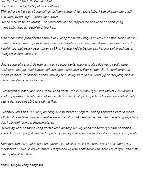 Surat Cinta Dari Anak Riau Untuk Indonesia