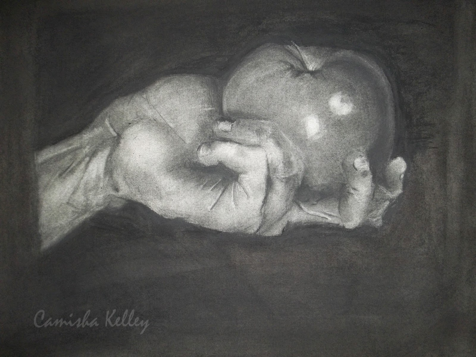 """Hand Study"" A few steps further on my, homework assignment, I did a lot of rendering, and still have a ways to go before it's fully complete. Hand holding an apple"