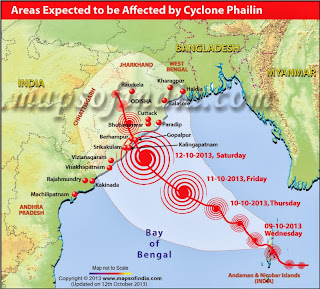 Cyclone Phailin affects